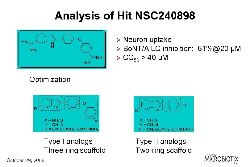 Analysis of Hit NSC 240898 Neuron uptake Ø Bo. NT/A LC inhibition: 61%@20 µM