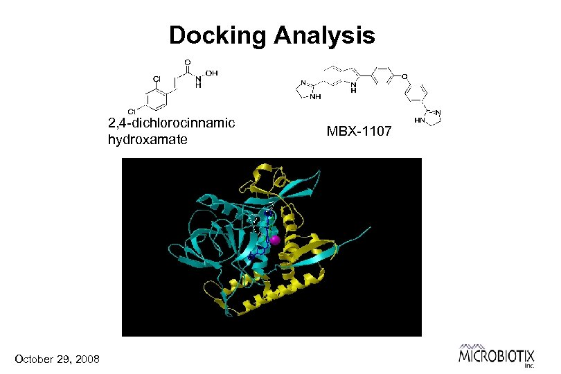 Docking Analysis 2, 4 -dichlorocinnamic hydroxamate October 29, 2008 MBX-1107