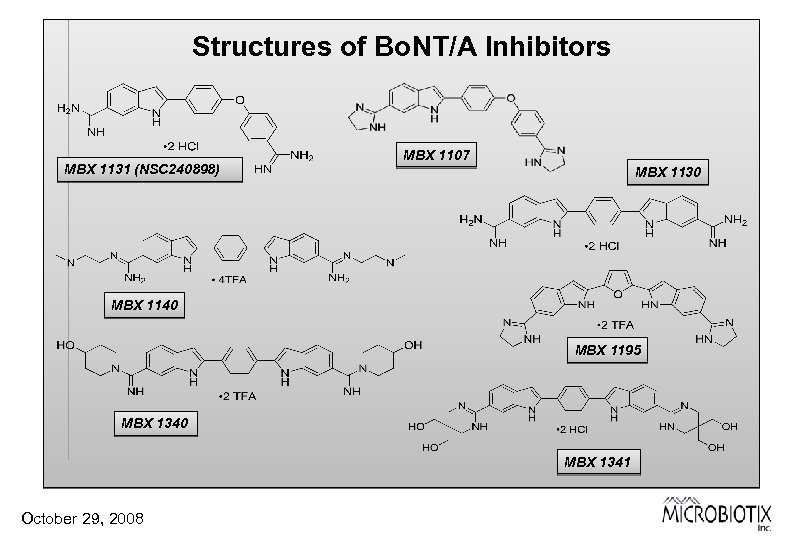 Structures of Bo. NT/A Inhibitors MBX 1131 (NSC 240898) MBX 1107 MBX 1130 MBX