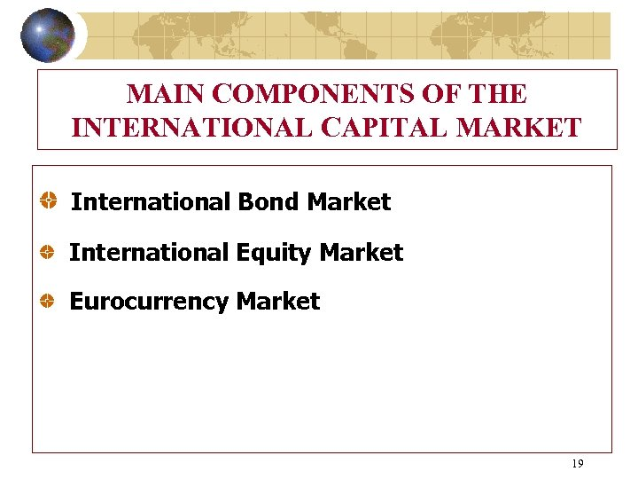MAIN COMPONENTS OF THE INTERNATIONAL CAPITAL MARKET International Bond Market International Equity Market Eurocurrency