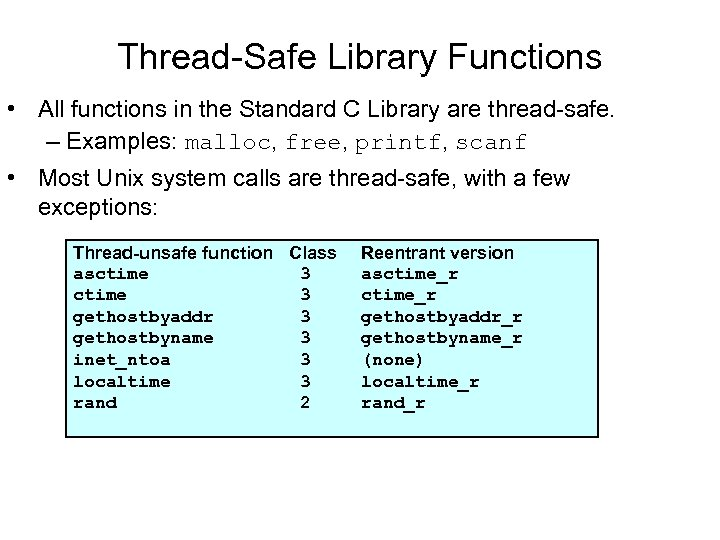 Thread-Safe Library Functions • All functions in the Standard C Library are thread-safe. –