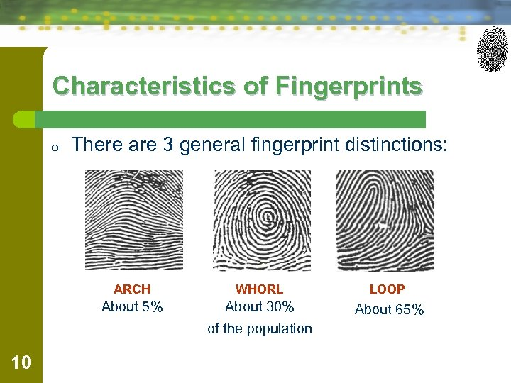 Characteristics of Fingerprints o There are 3 general fingerprint distinctions: ARCH WHORL LOOP About
