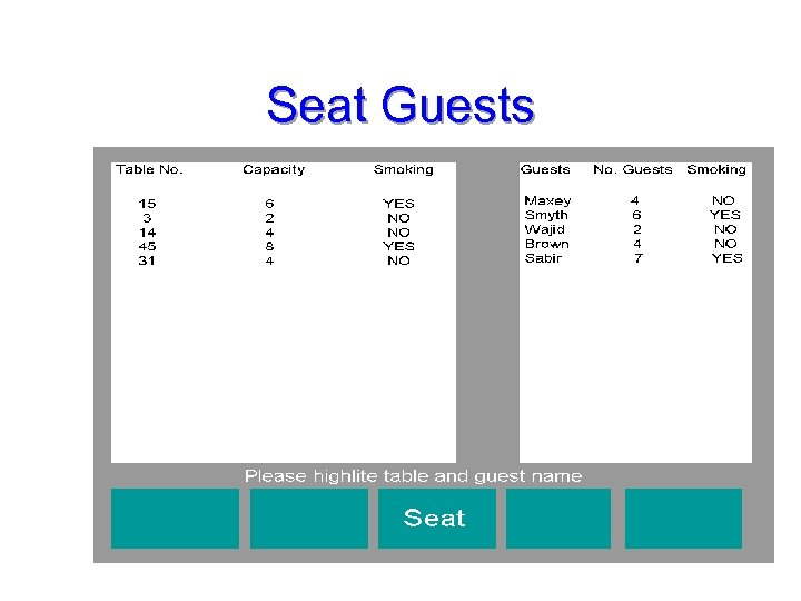 Seat Guests 18
