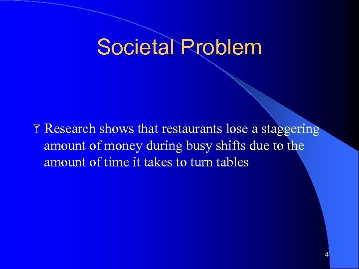 Societal Problem Research shows that restaurants lose a staggering amount of money during busy