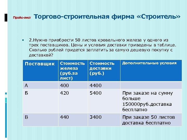 Прайс-лист Торгово-строительная фирма «Строитель» 2. Нужно приобрести 50 листов кровельного железа у одного