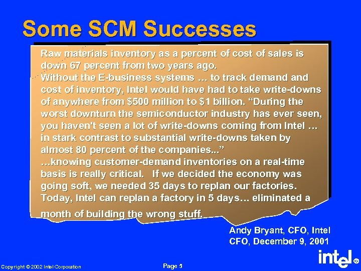 Some SCM Successes Raw materials inventory as a percent of cost of sales is