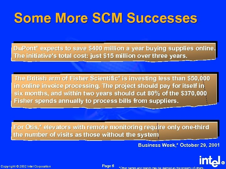 Some More SCM Successes Du. Pont* expects to save $400 million a year buying