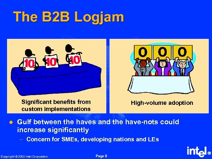 The B 2 B Logjam Significant benefits from custom implementations l High-volume adoption Gulf