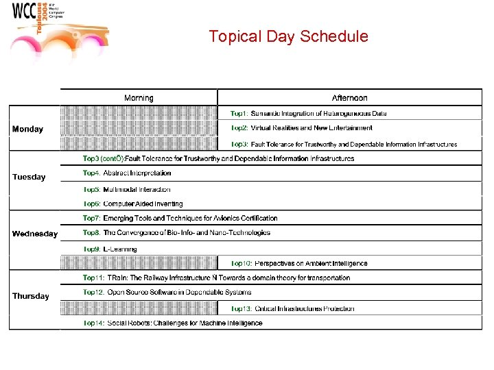 Topical Day Schedule