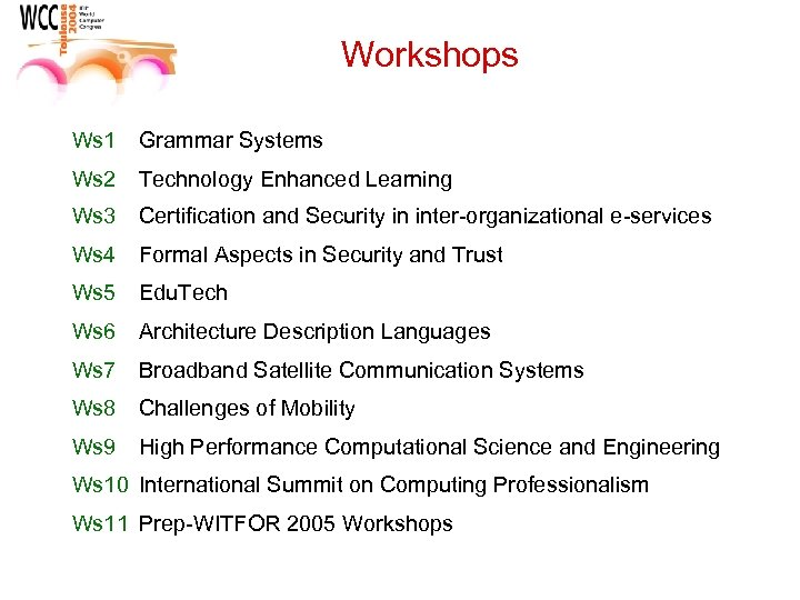 Workshops Ws 1 Grammar Systems Ws 2 Technology Enhanced Learning Ws 3 Certification and