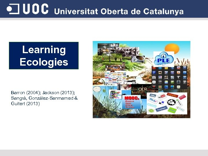 Learning Ecologies Barron (2004); Jackson (2013); Sangrà, González-Sanmamed & Guitert (2013)
