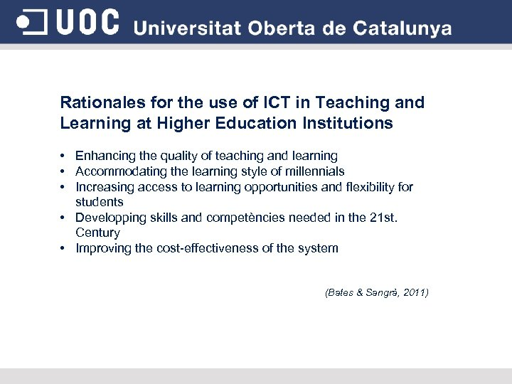 Rationales for the use of ICT in Teaching and Learning at Higher Education Institutions