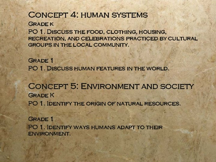 Concept 4: human systems Grade k PO 1. Discuss the food, clothing, housing, recreation,