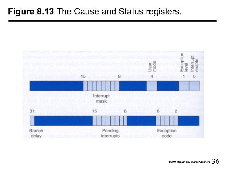 Figure 8. 13 The Cause and Status registers. Ó 2004 Morgan Kaufmann Publishers 36
