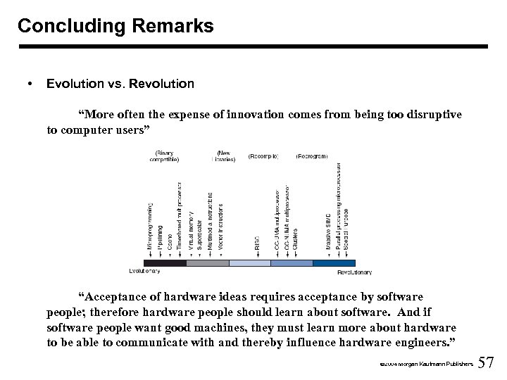 """Concluding Remarks • Evolution vs. Revolution """"More often the expense of innovation comes from"""