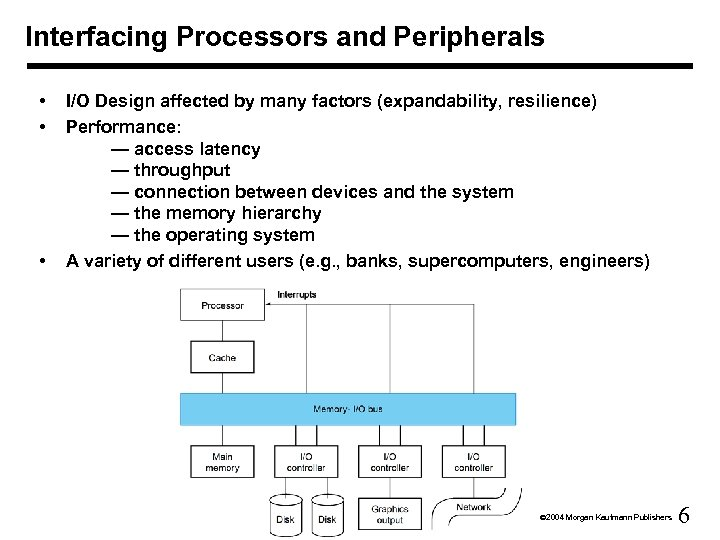 Interfacing Processors and Peripherals • • • I/O Design affected by many factors (expandability,