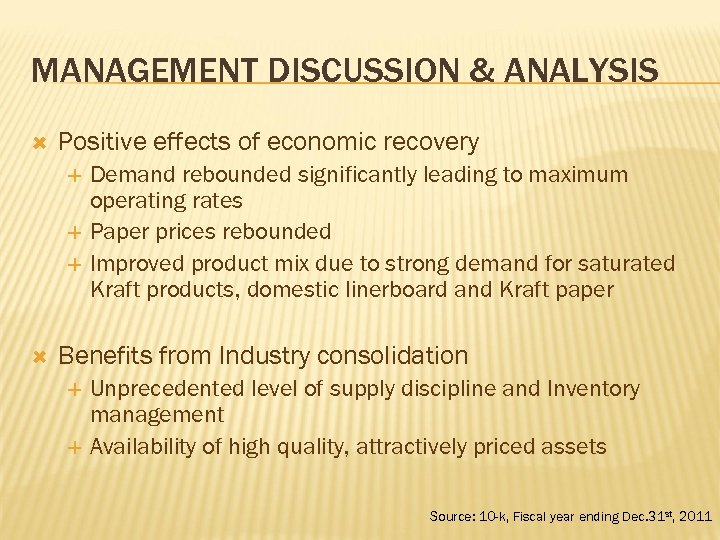 MANAGEMENT DISCUSSION & ANALYSIS Positive effects of economic recovery Demand rebounded significantly leading to