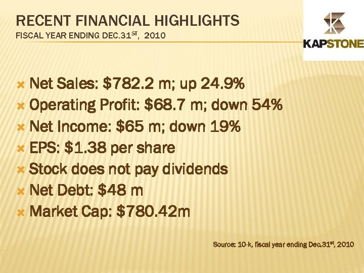 RECENT FINANCIAL HIGHLIGHTS FISCAL YEAR ENDING DEC. 31 ST, 2010 Net Sales: $782. 2