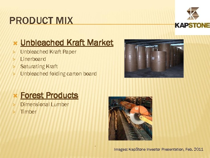 PRODUCT MIX Unbleached Kraft Market Ø Unbleached Kraft Paper Linerboard Saturating Kraft Unbleached folding