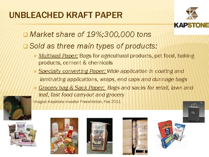 UNBLEACHED KRAFT PAPER q Market share of 19%; 300, 000 tons q Sold as