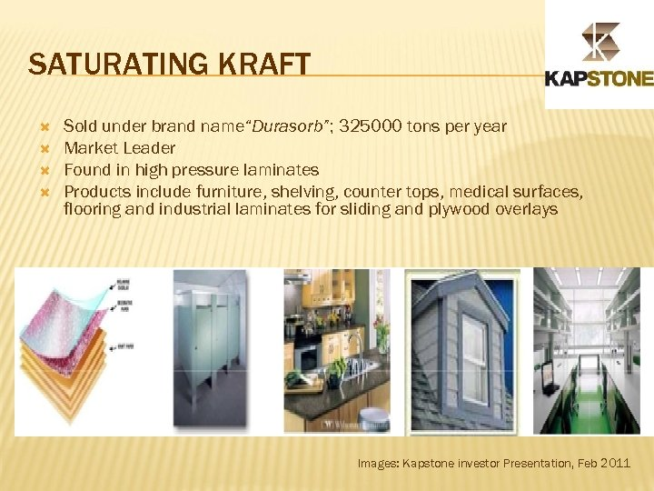 "SATURATING KRAFT Sold under brand name""Durasorb""; 325000 tons per year Market Leader Found in"