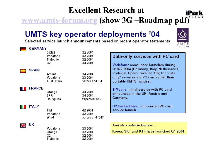 Excellent Research at www. umts-forum. org (show 3 G –Roadmap pdf)