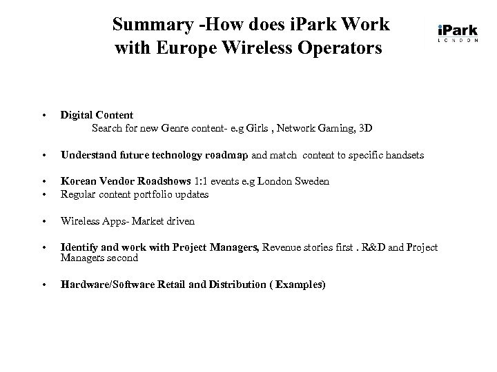 Summary -How does i. Park Work with Europe Wireless Operators • Digital Content Search
