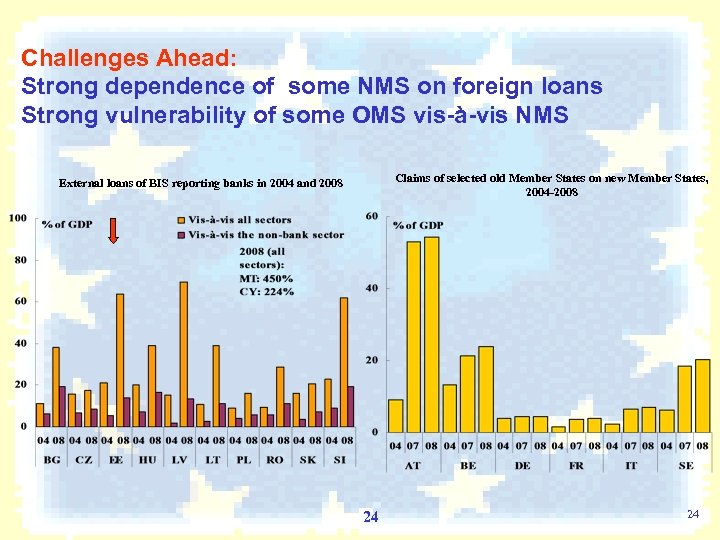 Challenges Ahead: Strong dependence of some NMS on foreign loans Strong vulnerability of some