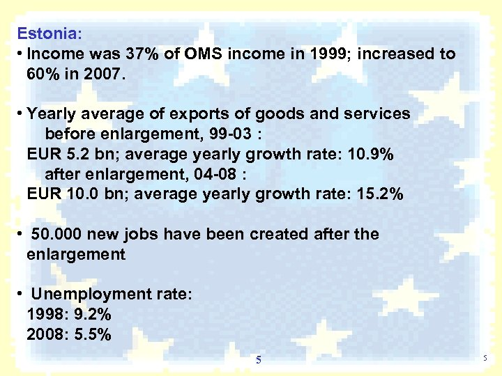 Estonia: • Income was 37% of OMS income in 1999; increased to 60% in