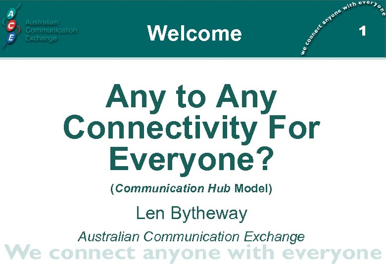 Welcome Any to Any Connectivity For Everyone? (Communication Hub Model) Len Bytheway Australian Communication