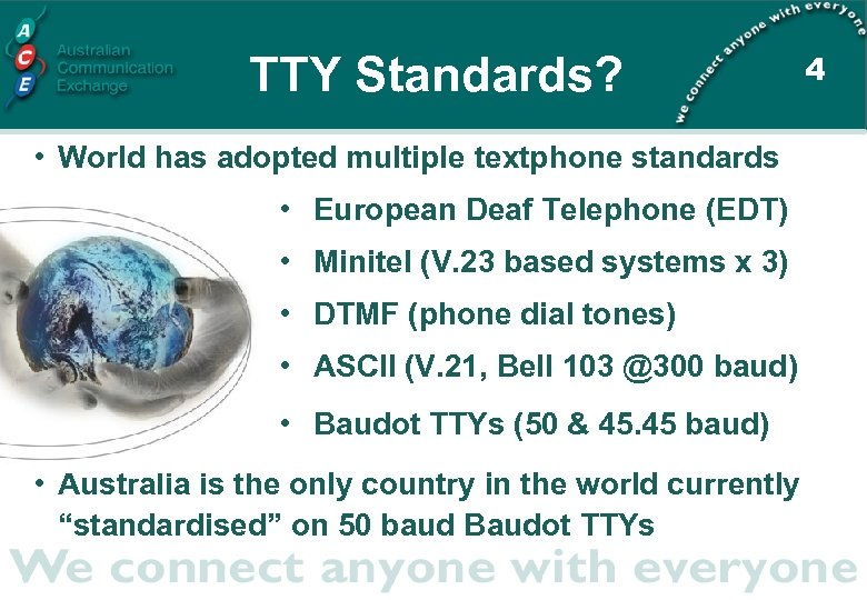 TTY Standards? • World has adopted multiple textphone standards • European Deaf Telephone (EDT)