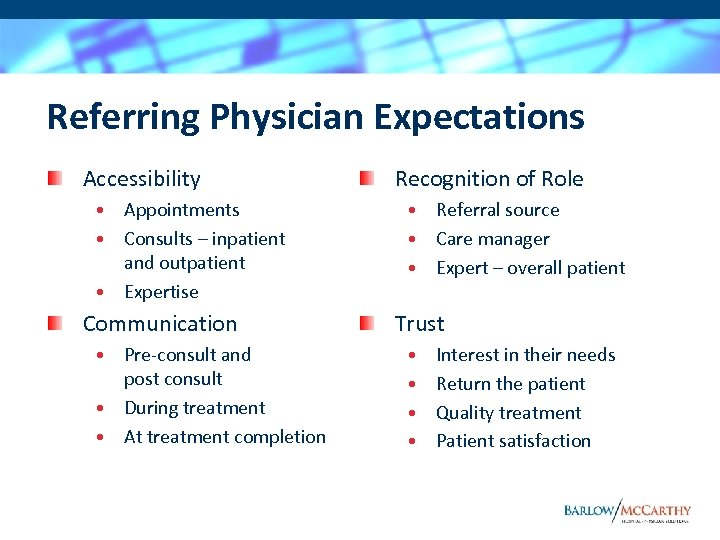 Referring Physician Expectations Accessibility • Appointments • Consults – inpatient and outpatient • Expertise