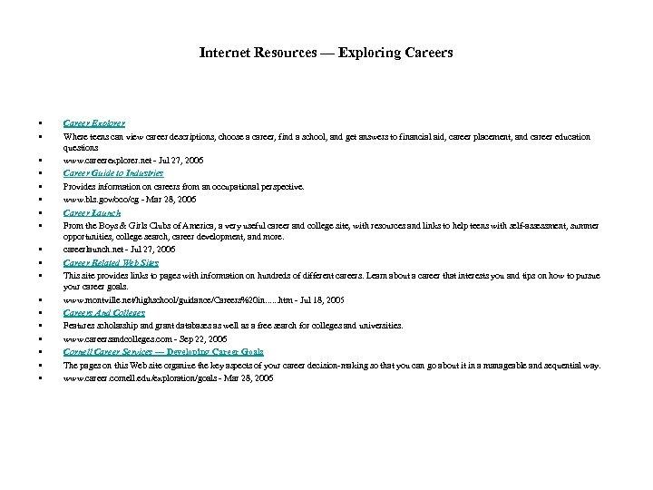 Internet Resources — Exploring Careers • • • • • Career Explorer Where teens
