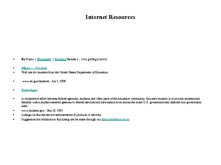 Internet Resources • By Name | Popularity | Updated Results 1 - 2 for