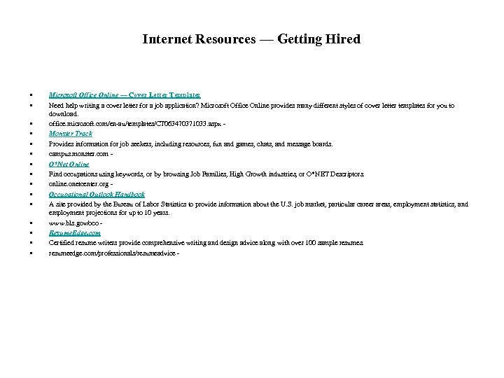Internet Resources — Getting Hired • • • • Microsoft Office Online — Cover