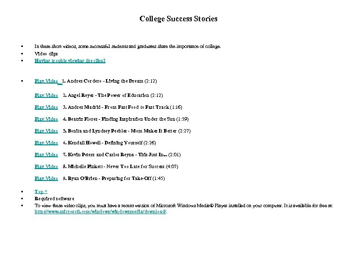College Success Stories • • • In these short videos, some successful students and
