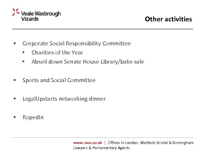 Other activities • Corporate Social Responsibility Committee • Charities of the Year • Abseil