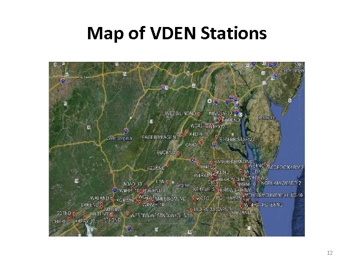 Map of VDEN Stations 12
