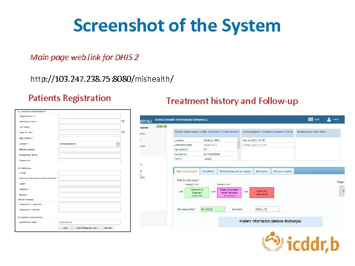 Screenshot of the System Main page web link for DHIS 2 http: //103. 247.