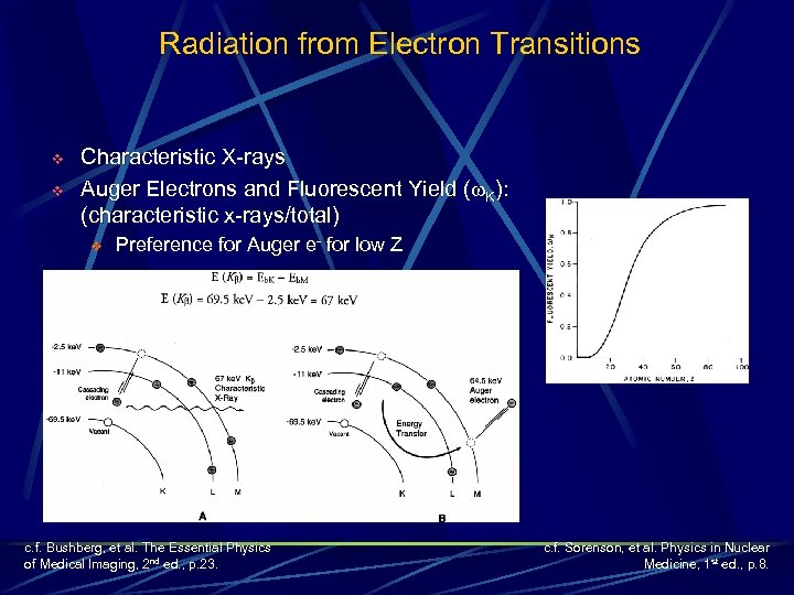 Radiation from Electron Transitions v v Characteristic X-rays Auger Electrons and Fluorescent Yield (w.
