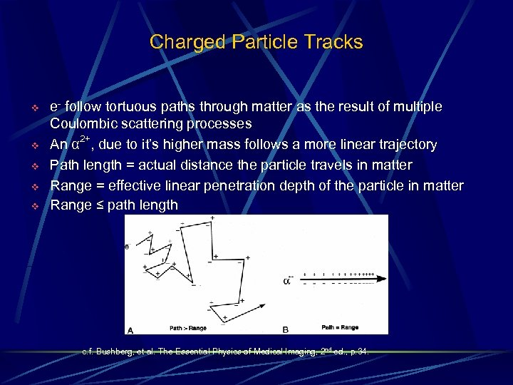 Charged Particle Tracks v v v e- follow tortuous paths through matter as the