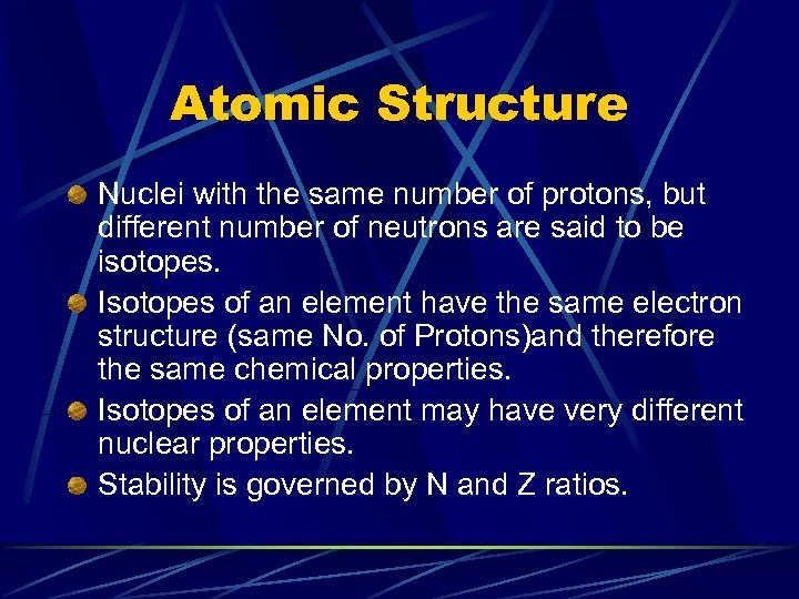 Atomic Structure Nuclei with the same number of protons, but different number of neutrons