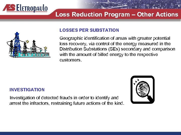 Loss Reduction Program – Other Actions LOSSES PER SUBSTATION Geographic identification of areas with