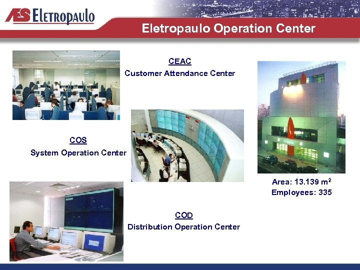 Eletropaulo Operation Center CEAC Customer Attendance Center COS System Operation Center Area: 13. 139
