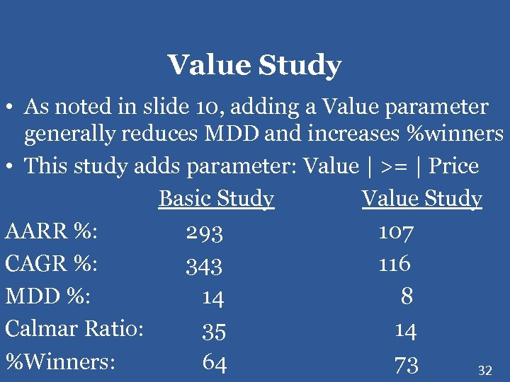 Value Study • As noted in slide 10, adding a Value parameter generally reduces
