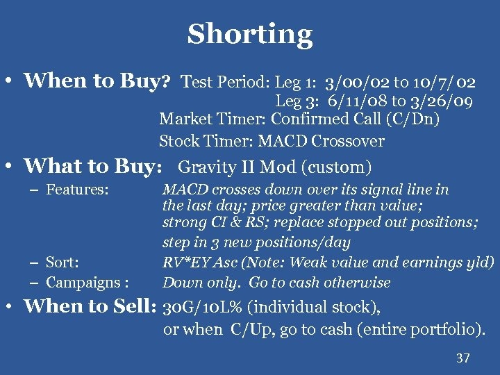 Shorting • When to Buy? Test Period: Leg 1: 3/00/02 to 10/7/ 02 Leg