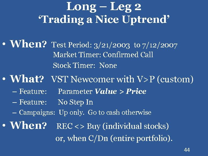 Long – Leg 2 'Trading a Nice Uptrend' • When? Test Period: 3/21/2003 to