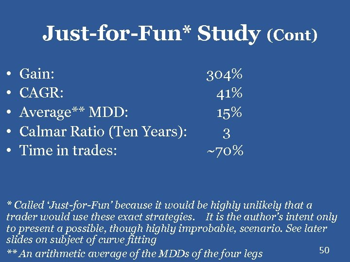 Just-for-Fun* Study (Cont) • • • Gain: CAGR: Average** MDD: Calmar Ratio (Ten Years):