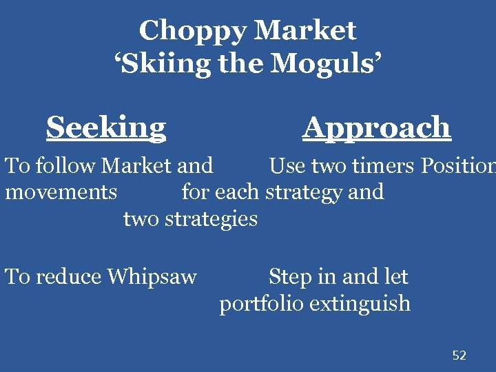 Choppy Market 'Skiing the Moguls' Seeking Approach To follow Market and Use two timers