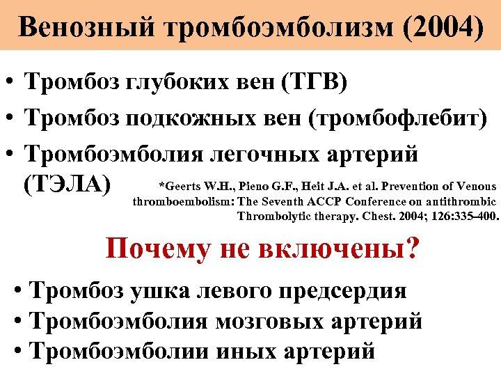 Венозный тромбоэмболизм (2004) • Тромбоз глубоких вен (ТГВ) • Тромбоз подкожных вен (тромбофлебит) •